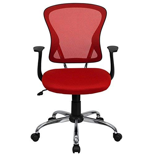 Flash Furniture Mid-Back Red Mesh Swivel Task Office Chair with Chrome Base and Arms