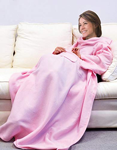 Deluxe Fleece Blanket with Sleeves and Pockets, Super Soft Stylish Microplush Home Sofa Wearable Throw Robe for Women and Men, - Snuggie Pink