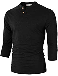 Mens Casual Slim Fit 3/4 Sleeve Henley T-Shirt