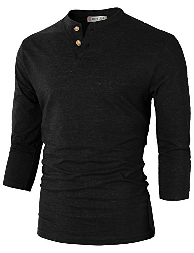 H2H Mens Casual Slim Fit Henley T-shirt 3/4Sleeves BLACK US L/Asia XL (Baseball Henley Shirt)