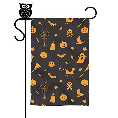 ZhongQi Halloween Pumpkin Spider owl Ghost Black Garden Flags Yard Flags Outdoor Flags Decorative Flag 12x18 Inch]()