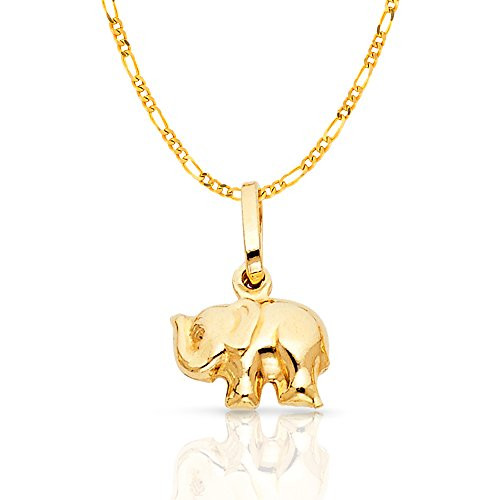 Yellow Gold 13mm Figaro Chain - 14K Yellow Gold Elephant Strength & Luck Charm Pendant with 1.6mm Figaro 3+1 Chain Necklace - 16