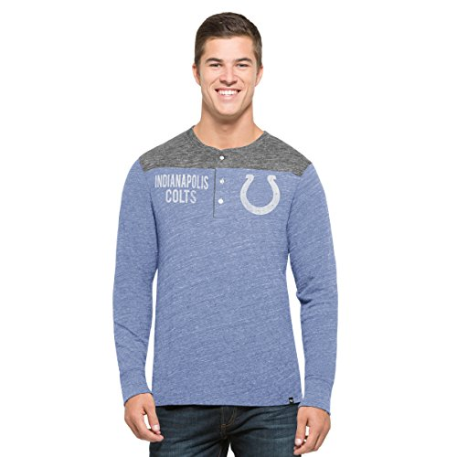Indianapolis Colts Youth Short (NFL Indianapolis Colts Men's '47 Neps Henley Long Sleeve Tee, Medium, Olympic Blue)