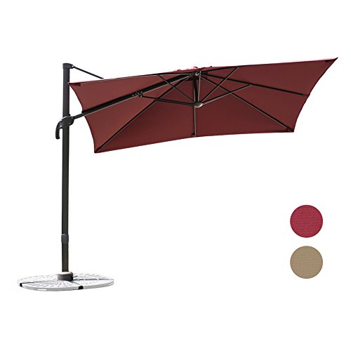 C-Hopetree 8'6'' Deluxe Square Offset Cantilever Outdoor Patio Umbrella, 360° Rotation, Infinite Tilting, Olefin Canopy, with Storage Cover, Red by C-Hopetree
