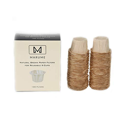 100 Disposable Natural Brown Coffee Filter Paper for Reusable Single Serve Keurig Brewer - Simple Cups, EZ-Cups, EkoBrew - Refills for Reusable K-Cups - Marume Mie Cup MF-NB100