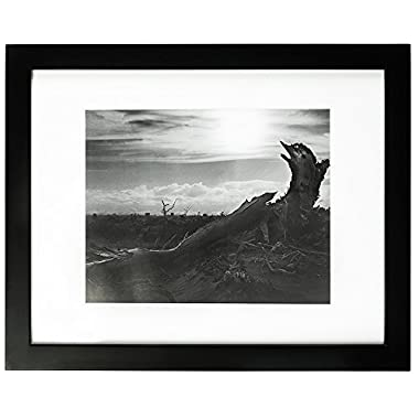 Golden State Art, 11x14 Black Photo Wood Frame with REAL GLASS and White Mat for 8x10 Picture