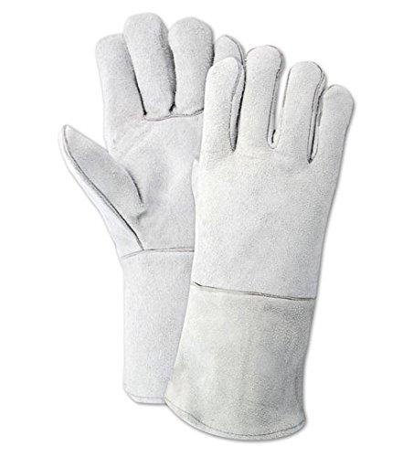 Magid T1755 WeldPro Side Split Cow Leather Welding Gloves, Standard, White (One Dozen) (Welding Economy Gloves)