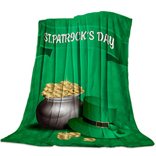 - Flannel Fleece Throw Blankets for Bed/Couch, Soft Warm Fuzzy Plush Microfiber All-Season Lightweight Sofa Blanket Stadium Throws - Twin 50x60 Inch St. Patrick's Day Clover Green Hat Gold Coin