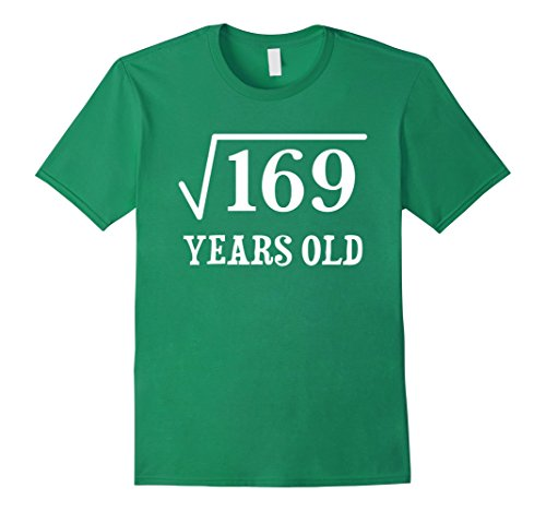 Mens Square Root of 169 13 yrs years old 13th birthday T-Shirt Small Kelly Green (13th Green)