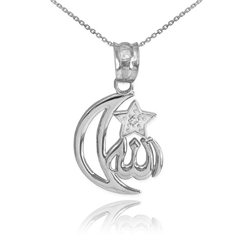 Middle Eastern Jewelry 925 Sterling Silver CZ-Accented Islamic Star and Crescent Moon Allah Pendant Necklace, 22