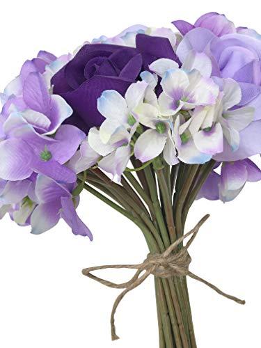 TheBridesBouquet.com Purple Lavender Hydrangea & Rose Flower Market Bouquet | Artificial Flowers | Natural Jute Tie | 24 stem