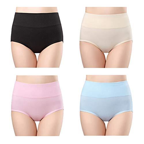 ff791b6875c wirarpa Women's Cotton Underwear 4 Pack High Waisted Briefs No Muffin Top  Ladies Comfort Panties Size