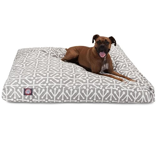 XL Grey White Geometric Pattern Dog Bed, Gray Modern Fun Bold Print Pet Bedding, Rectangle, Features Waterproof base, Stain Resistant, Removable Cover, Sturdy Zipper Design, Polyester by N2