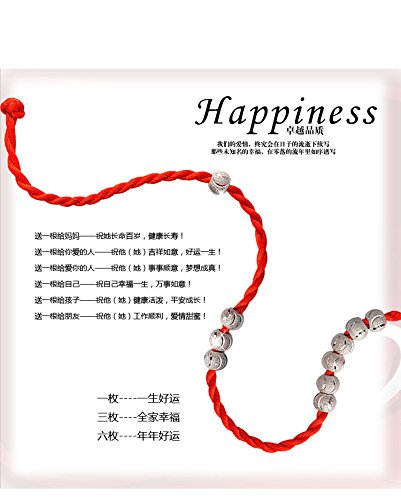 Generic Buy 2 Get 1S925 silver hand chain bracelet bangle wristband men and women hand red string beads transit jewelry lovers animal year Tanabata Festival by Generic
