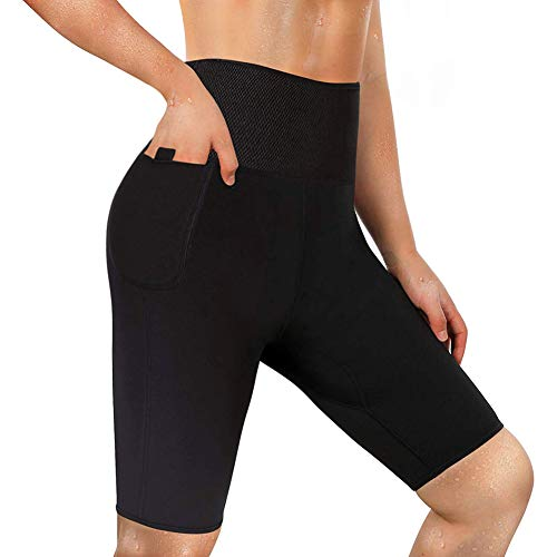 LODAY Neoprene Sauna Shorts with Pocket for Women Thigh Slimmer Weight Loss Sweat Pants Workout Body Shaper Yoga Leggings (Black, L) (Best Shorts For Big Thighs Womens)