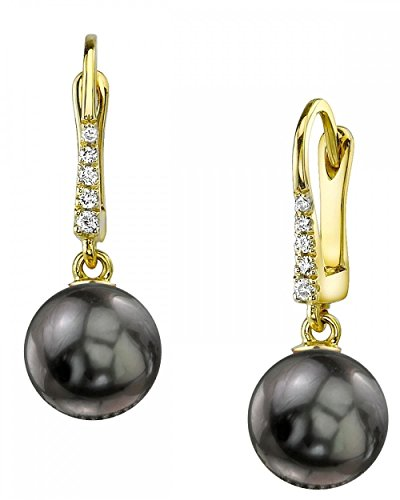 THE PEARL SOURCE 14K Gold 8-9mm Round Black Tahitian South Sea Cultured Pearl & Diamond Susan Earrings for Women