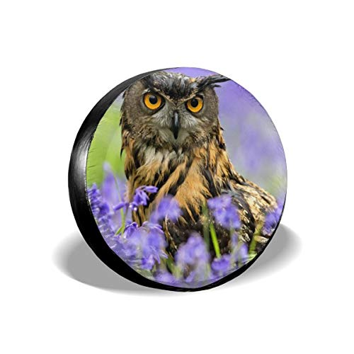 Owl Bird Spring Lavender Universal Spare Wheel Tire Cover Fit for Truck Camper Van Jeep Trailer RV SUV Trailer Car Accessories 14 15 16 17 Inch Decorations Car Interior Girl