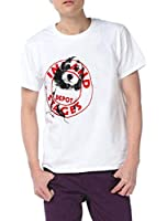 Men Round Neck Letters Dog Pattern Front Tee Shirt Red White M