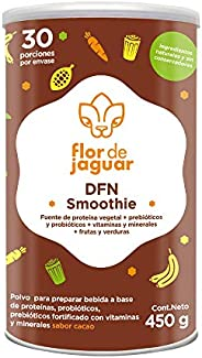 FLOR DE JAGUAR   DFN Smoothie en polvo sabor cacao con proteína vegetal + probióticos + vitaminas y minerales