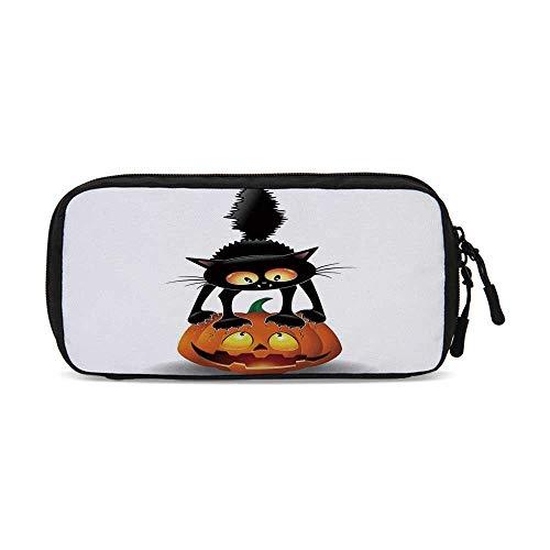Halloween Decorations Useful Small Data Storage Bag,Black Cat on Pumpkin Spooky Cartoon Characters Halloween Humor Art for Office,9.4