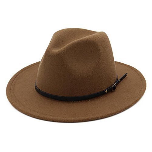 Lisianthus Women Belt Buckle Fedora Hat Dark-Camel - Wide Brim Hat
