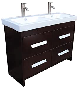 48 bathroom vanity ceramic lavatory top with double integrated sink ns1. Black Bedroom Furniture Sets. Home Design Ideas