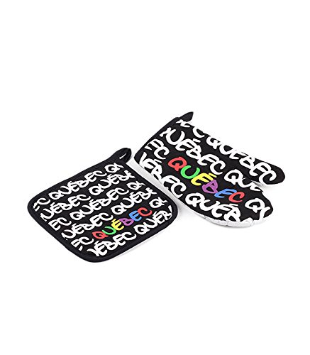 Colourful Quebec Oven Mitt and Pot Holder Kitchen Safety Set True North Travel Canada