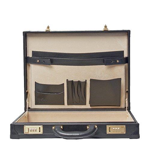 Maxwell Scott Luxury Handmade Italian Full Grain Leather Black Attroney Attache Brief Case (The Scanno) - One Size