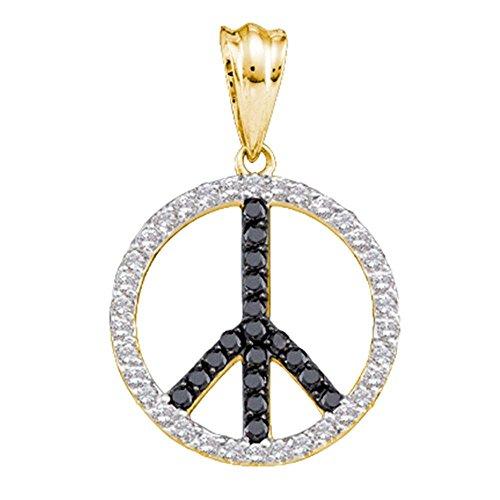 14kt Yellow Gold Womens Round Black Color Enhanced Diamond Peace Sign Circle Pendant 3/4 Cttw