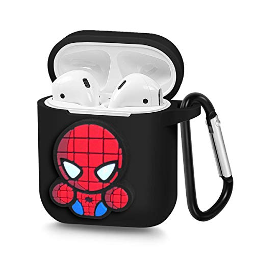 Pocoolo Airpods Case Airpods Accessories Protective Silicone Cover and Skin with Carabiner for Apple Airpods Charging Case (Spider Man)