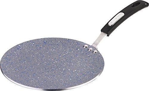 Vinod Cookware Aluminium Zest Marbilo Concave Tawa, 24cm, Black