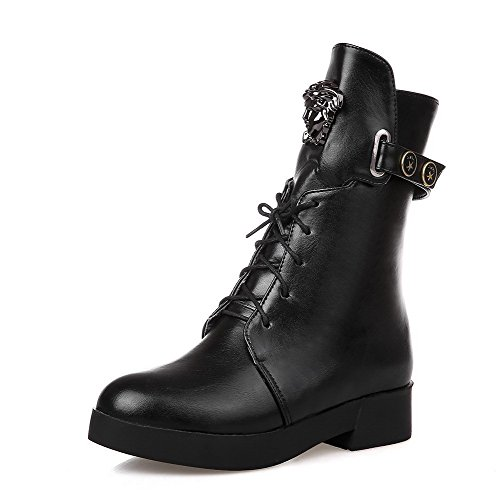 WeenFashion Women's Soft Material Round Low-Heels Closed Toe Solid Low-Top Low-Heels Round Boots B01NB9TKI4 Shoes e9368b