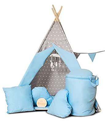 Golden Kids barn lektält tepee tipi set för barn inomhus utomhus leksak tält indianertipi med fönster etc. tipi med och utan tillbehör