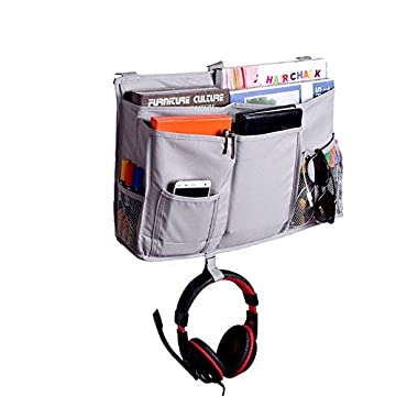 Beside Caddy Hanging Storage Bag, 8 Pockets Nursery Baby Diaper Caddy for Cot Stroller Dorm Room Cabin Beds/Bunks Book Magazine Cellphone Kids Diaper Toys Cup Bottle Holder Tidy Organiser (Caddy)