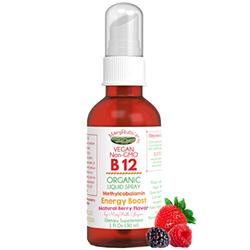 (Extra Strength-60 Day) Organic Vitamin B12 (Methyl) Liquid Sublingual Spray by MaryRuth Energy Boost - Sugar Free - Non-GMO Vegan - Gluten Free - Paleo - Bariatric & Celiac Glass Bottle 1oz-3000 mcg