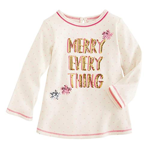 Mud Pie Kids Girls Season to Sparkle Christmas Merry Everything Tunic Top Large (4T-5T) (Merry Girl Christmas)