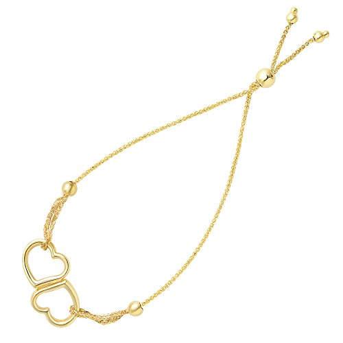 Double Open Heart Center Element Bolo Friendship Adjustable Bracelet In 14K Yellow Gold, ()