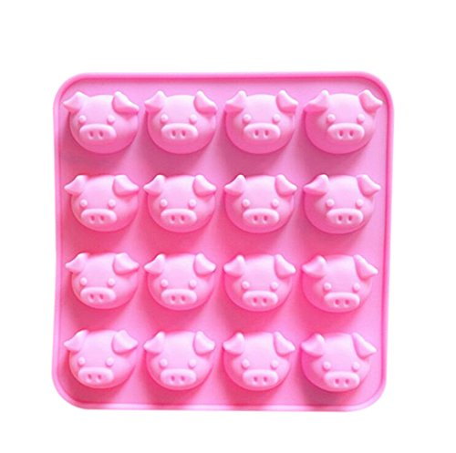 Da.Wa 16-Cavity Pop Pink Cake Mold Turn Sugar Mold Ice Tray Pudding Die Almond Bark Candies Mold ()