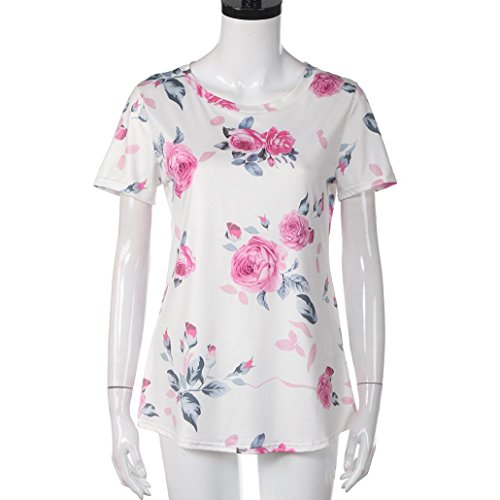 Women's Tee,Neartime Pink Flower Printed Short Sleeve Tops T Shirt for Woman (XL) Photo #3