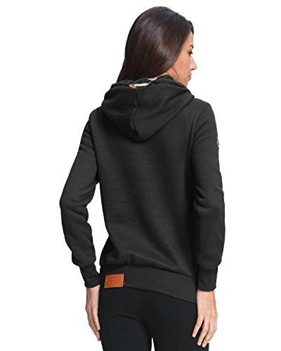 StyleDome Mujer Sudadera con Capucha Invierno Suéter Jersey Pulóver Cuello Alto Algodón Deportiva Corta Negro