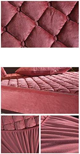CHUYU Housse de Matelas matelassée en Peluche épaissie Drap-Housse matelassé en Velours de Cristal Doux Chaud, Couleur 7,90x200x30cm