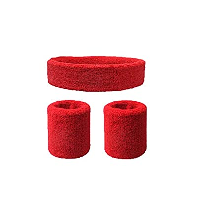 JIAJIAKONG Headband Wristband Set Sports Sweatbands For Head And Wrist Applicable Run Baseball Basketball Football etc Multi Color Red Estimated Price £16.99 -