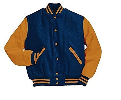 Original Windhound College Jacke persisch blau mit marigold Echtleder Ärmel S