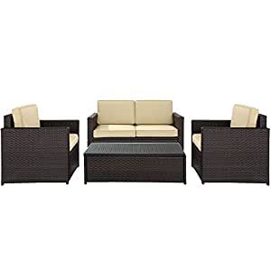 Crosley Furniture Palm Harbor 4-Piece Outdoor Wicker Seating Set - Brown