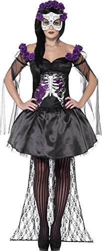 Smiffy's Women's Day of The Dead Senorita Costume, Printed Top, Skirt, Rose Headband and Latex Mask, Day of The Dead, Halloween, Size 6-8, 43737