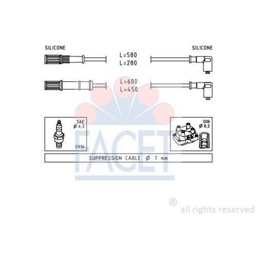 Facet 4.9451 Ignition Leads Kit: