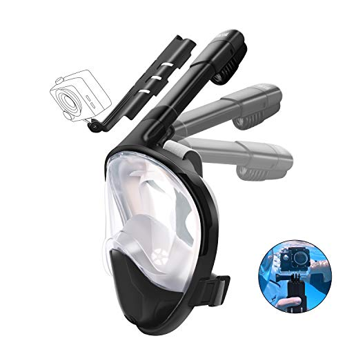 Full Face Snorkel Mask, CHICOM Foldable Snorkel Set with Detachable GoPro Camera Handle Mount 180° Panoramic View Snorkeling Diving Mask for Men Women Adults Youth Kids