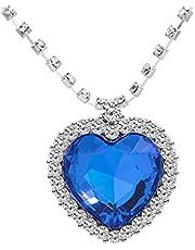 تايتانيك قلب من رقبة المحيط، كريستال أزرق ملكي مكون من الياقوت الأزرق مع قلادة مطلية بالفضة والمجوهرات