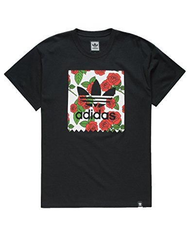 ADIDAS Print Rose Blackbird T-Shirt, Black, X-Large