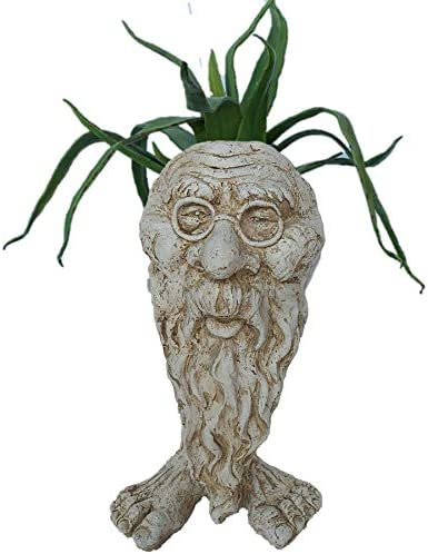 Muggly Great Grandpa RIP Planter Face Pot Patio Garden Statue